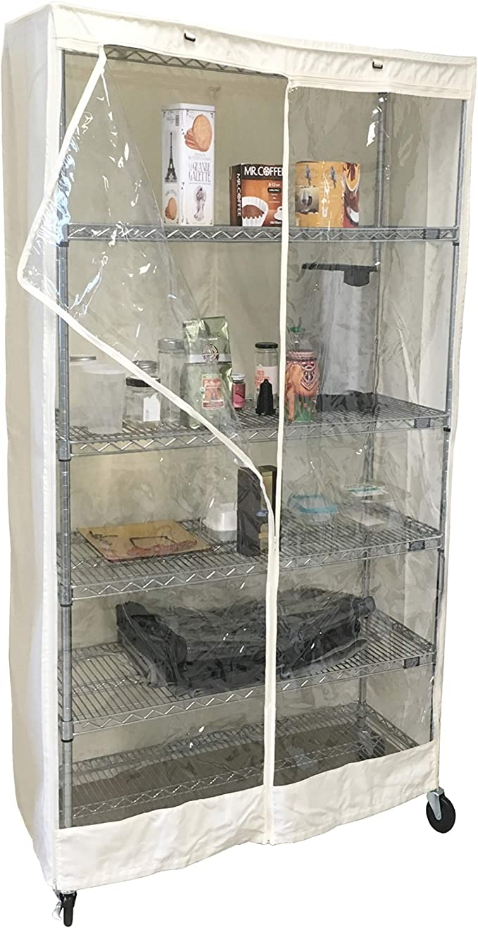 """racks  48/""""Wx24/""""Dx72/""""H COVER ONLY, Khaki//Clear Storage Shelving Unit Cover"""