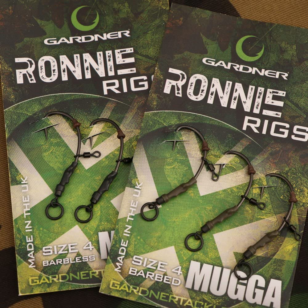 Aparejo Ronnie Rigs ya montado, marca Gardner Tackle (pack de 3 unidades) – Pesca carpfishing en aguas dulces, estilo pop-up