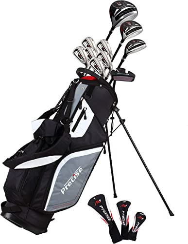 Precise M5 Men's Complete Golf Clubs Package Set Includes Titanium Driver, S.S. Fairway, S.S. Hybrid, S.S. 5-PW Irons, Putter, Stand Bag, 3 H C's