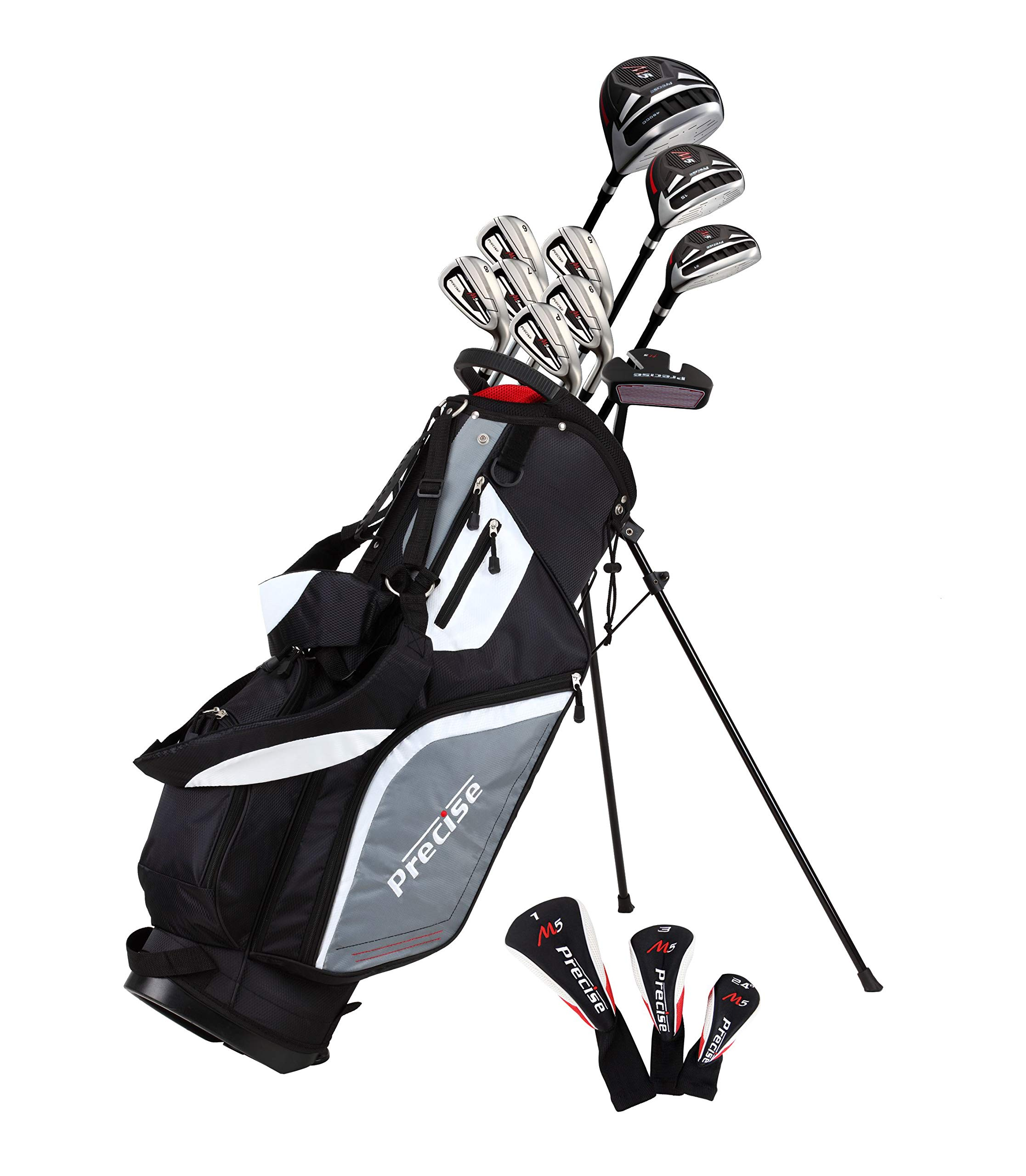 Top Line Men's  M5 Golf Club Set , Left Handed Only, Includes Driver, Wood, Hybrid, 5, 6, 7, 8, 9, PW Stainless Steel Irons with True Temper Steel Shaft, Putter, Stand Bag & 3 Headcovers by Precise