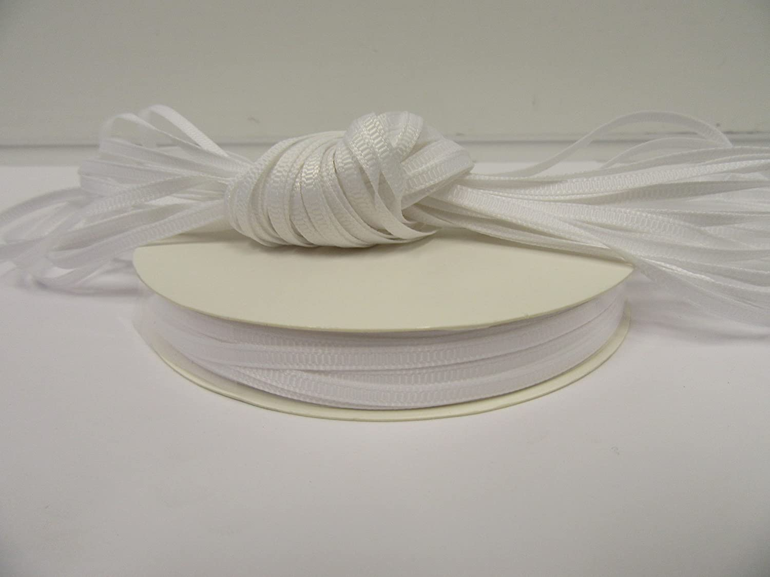 Beautiful Ribbon 10 metri di 3 millimetri grosgrain costine nastro bianco bifacciali 3 mm 3mm