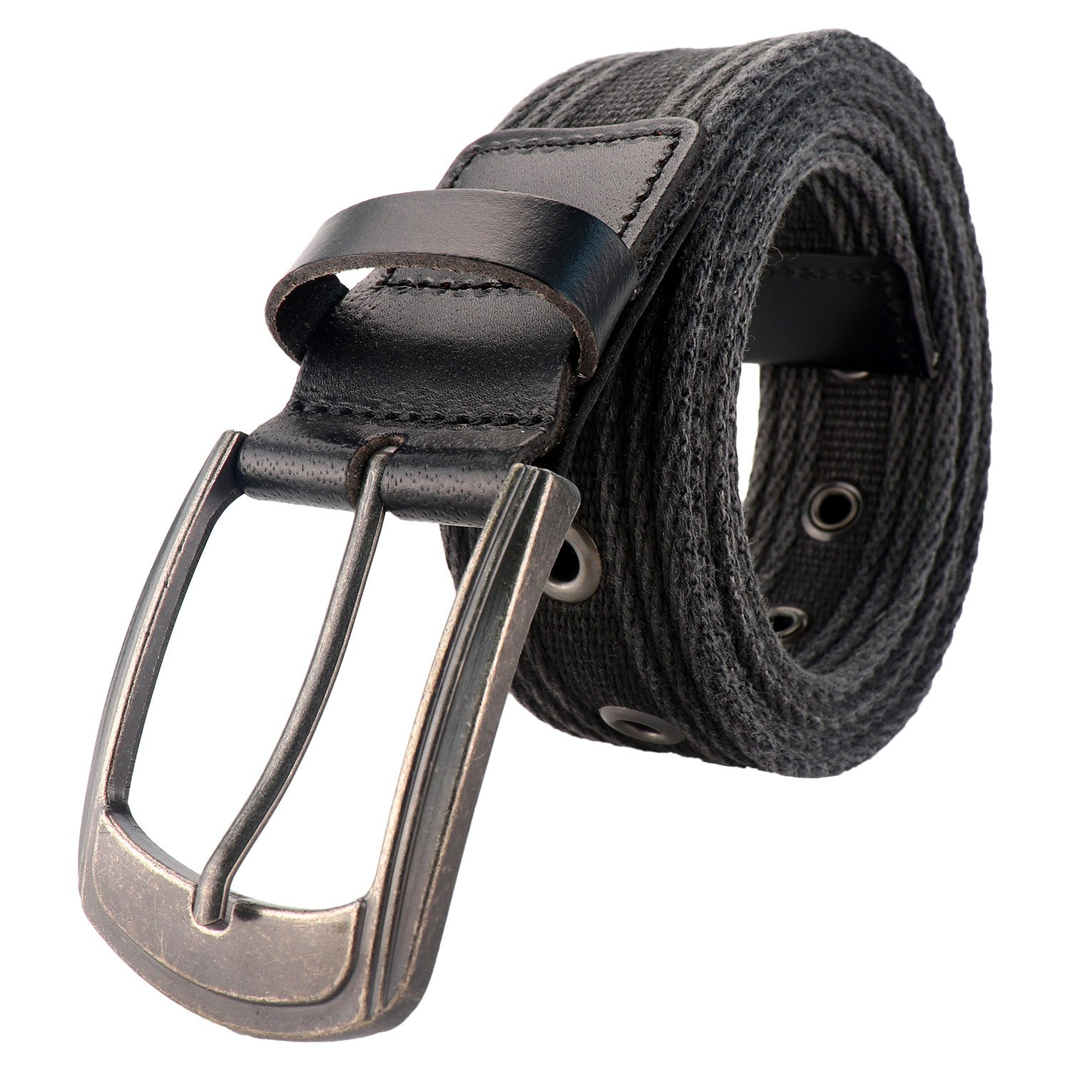 Men's Military Water-Washed Canvas Waist Web Belt Leather Tipped End and Silver Metal Buckle (Medium(34-36), Black)