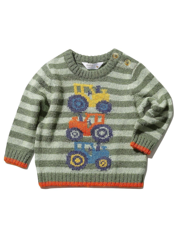 M&Co Baby Boy Long Sleeve Crew Neck Khaki Stripe Knit Tractor Design Jumper