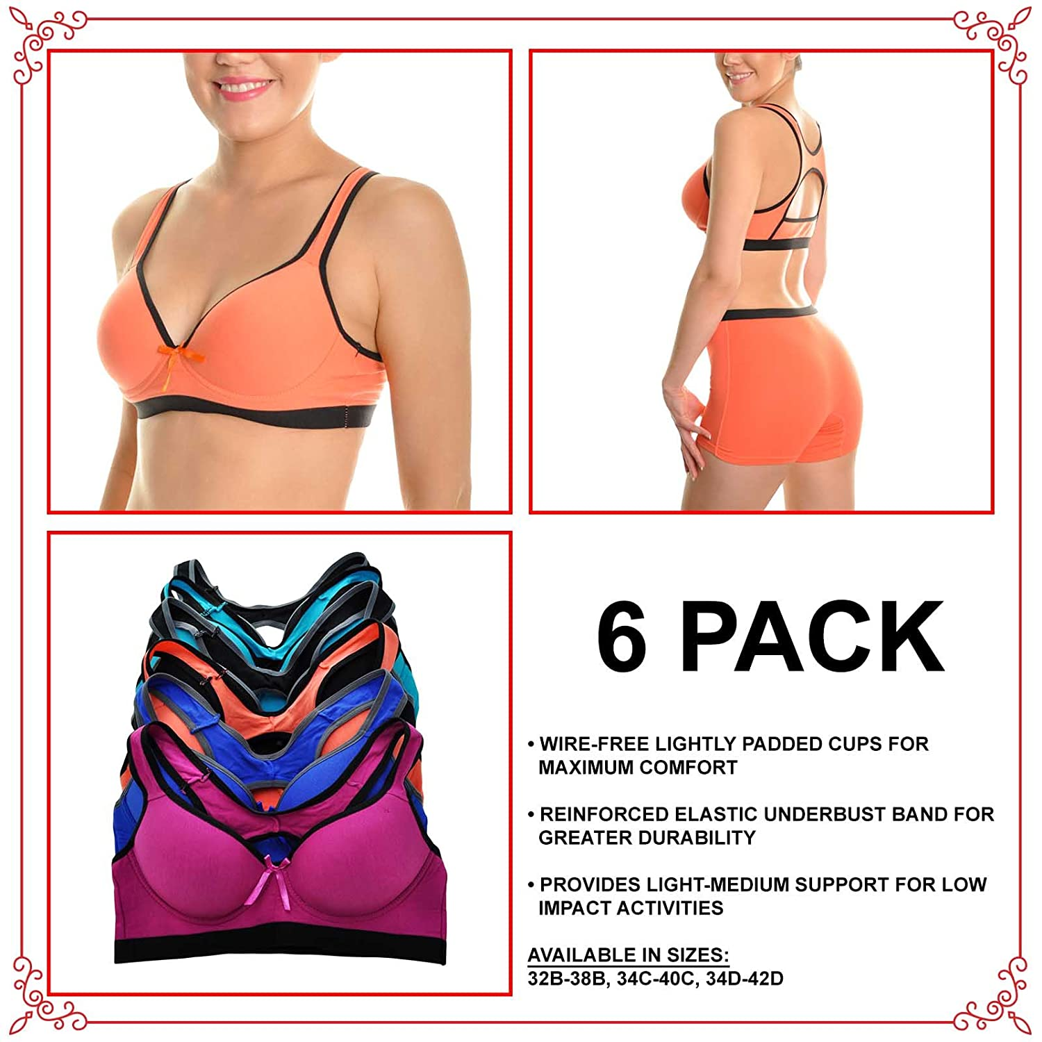 Angelina Cotton Sports Bra and High Rise Boxer Briefs Set 6-Pack Sold SEPARATLY