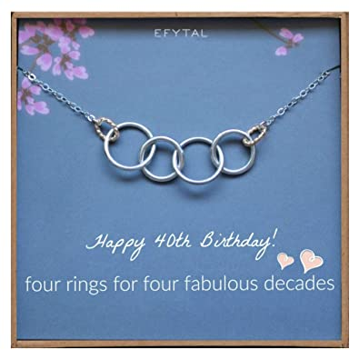 Amazon EFYTAL Happy 40th Birthday Gifts For Women Necklace Sterling Silver 4 Rings Four Decades Necklaces Gift Ideas Jewelry