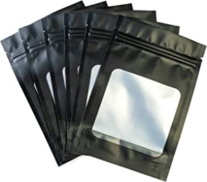 HANSER | Smell Proof Odorless Mylar Resealable Foil Pouch Bags with clear Window | Food Safe | Airtight Ziplock | matte black | 100 Pieces | 4x6 inches