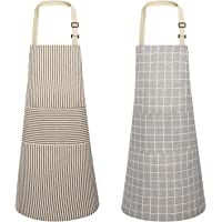 JOYPEA Cotton Linen Cooking Apron Waterproof Adjustable 2 Pack Kitchen Aprons for Men Women