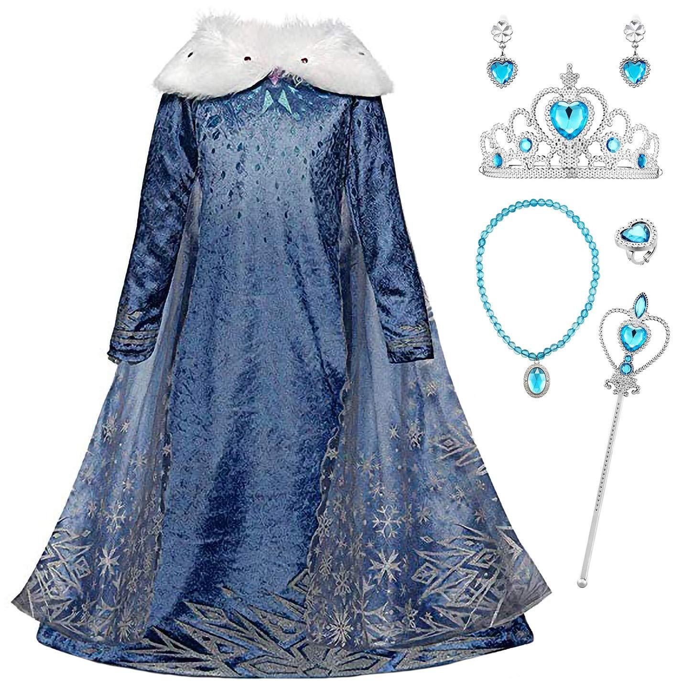 Kids Disfraz De Princesa Elsa y corona Vestido de niña de Frozen fiesta de  cumpleaños mega.hr