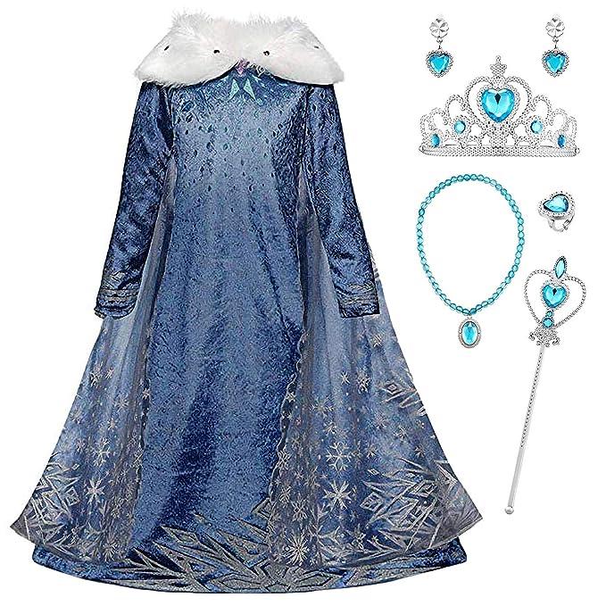 YOSICIL Niñas Cosplay Vestido de Princesa Elsa con Capa Vestido de Frozen Manga Larga Vestido Largo Disfraz Azul Dulce Disfraz Ceremonia de Fiesta ...