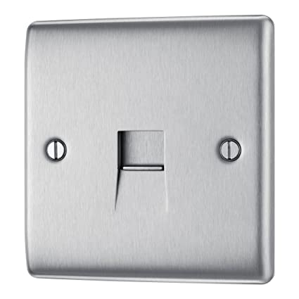 Astounding Masterplug Nbsbtm1 1 Gang Metal Brushed Steel Telephone Socket Wiring Database Gramgelartorg