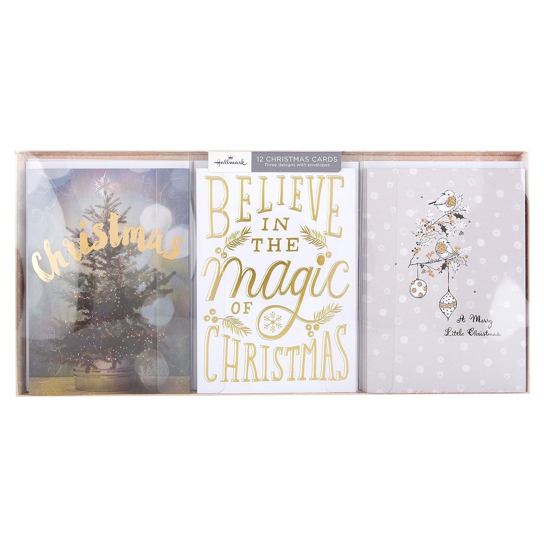"""Hallmark–Biglietti di Natale """"Believe in Magic""""–12 biglietti, 3 motivi Believe in 25443221"""