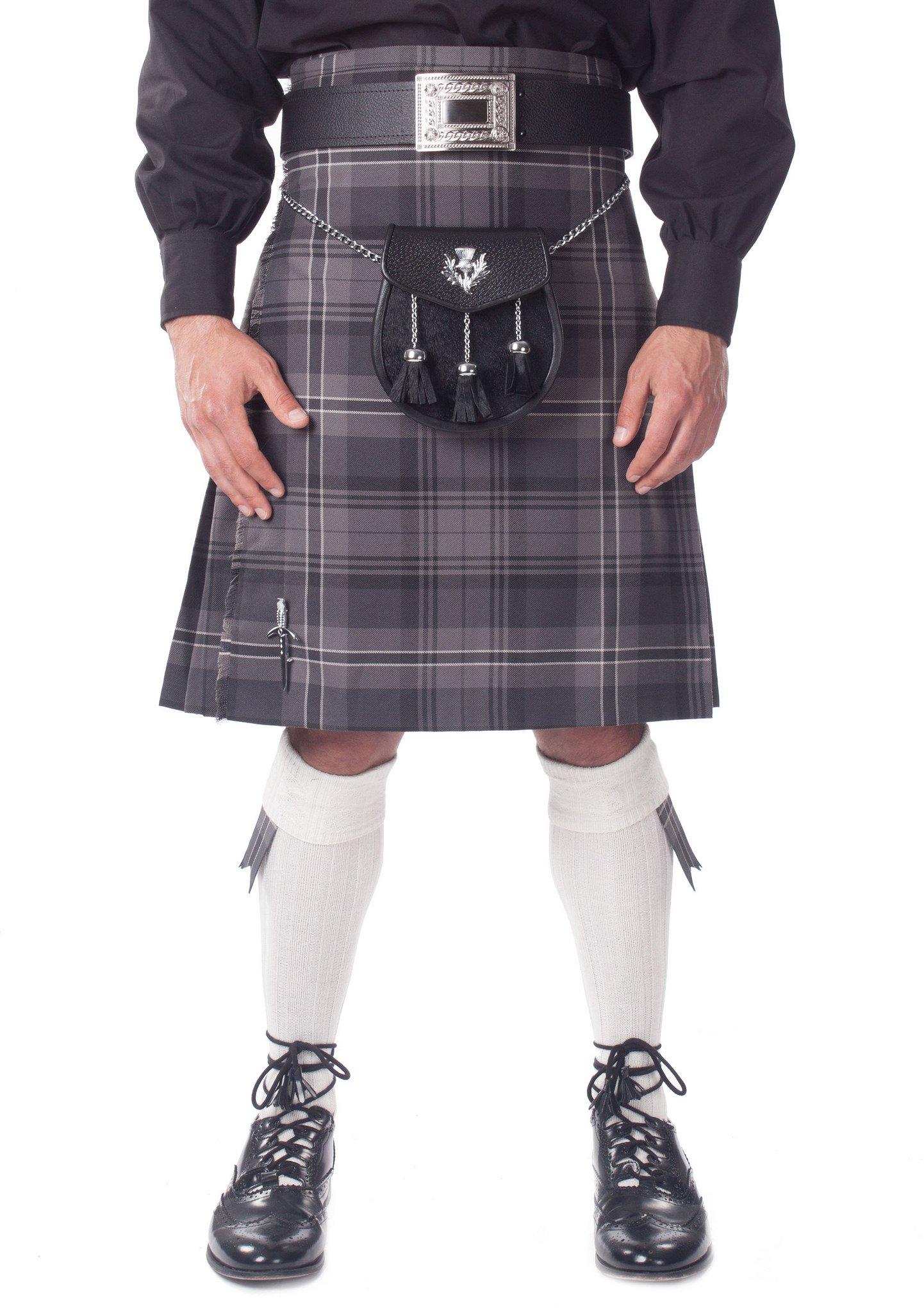 Kilt Society Mens 7 Piece Semi Dress Kilt Outfit- Hamilton Tartan with White Hose 46'' to 50''
