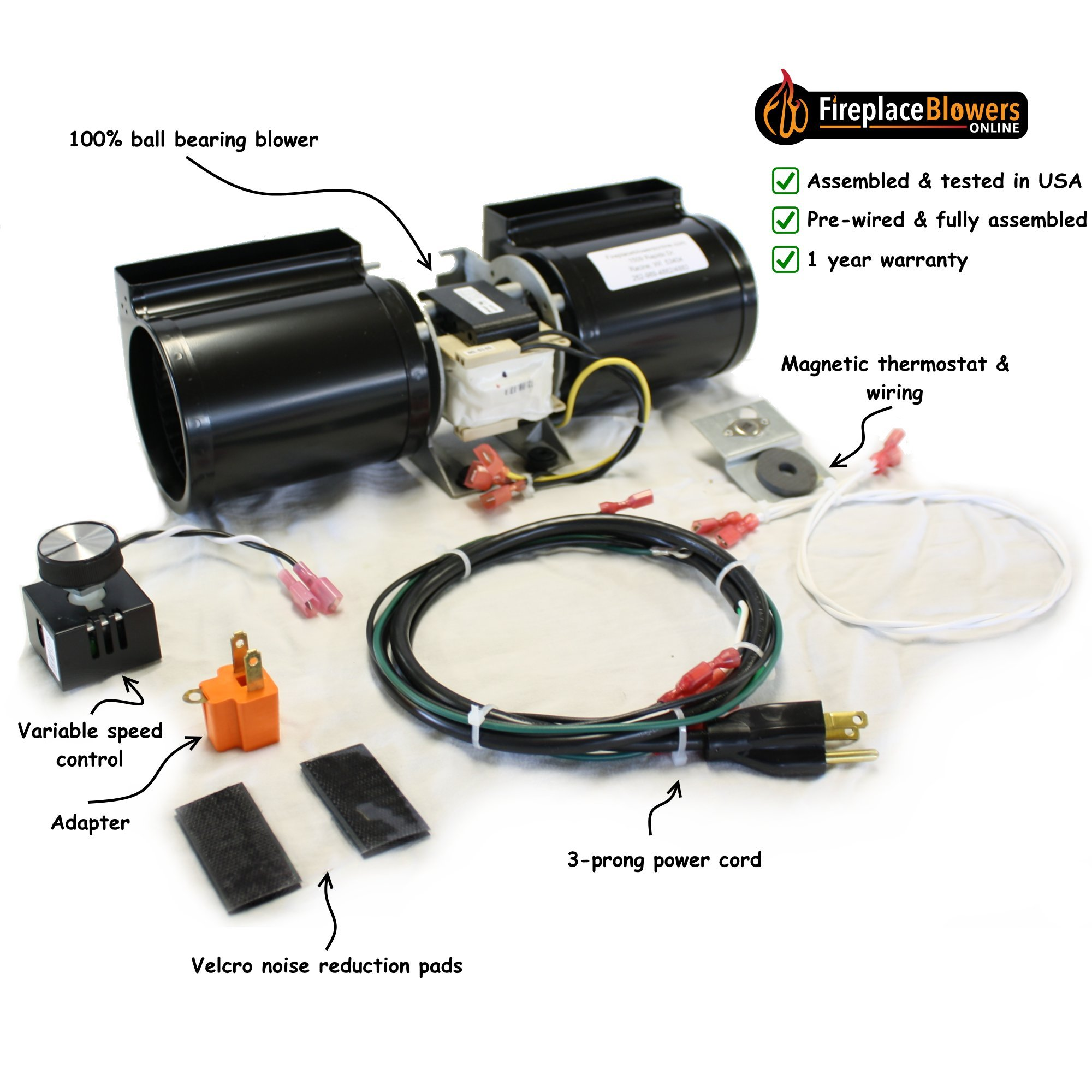 GFK-160 Fireplace Blower Kit for Heat N Glo, Hearth and Home, Quadra Fire by FireplaceBlowersOnline