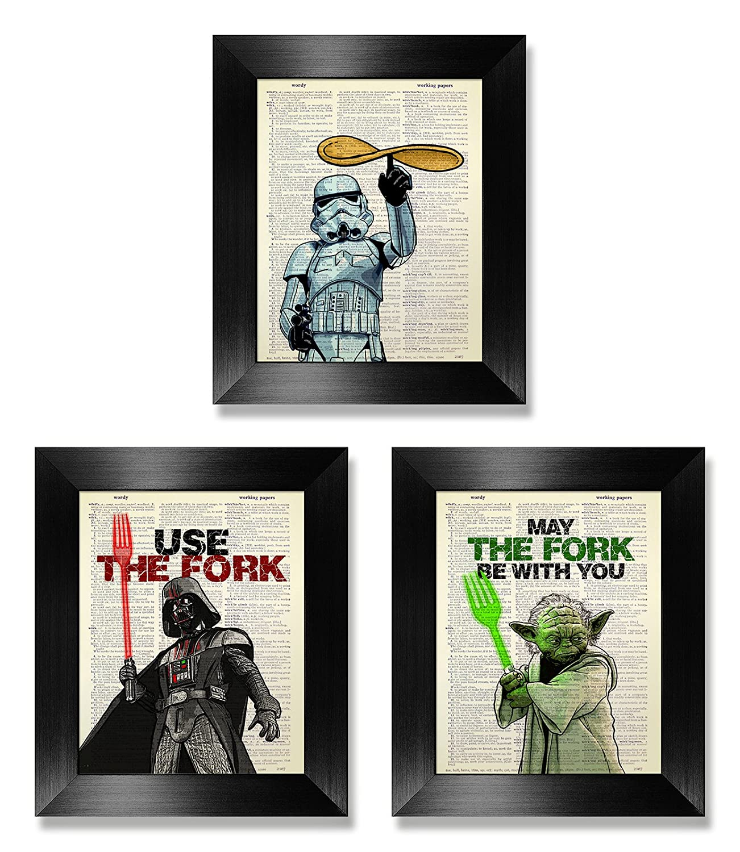 Funny Star Wars Poster Set of 3 Print, Star Wars Kitchen Gift for Man Woman Kids, Kitchen Wall Art Set of Three Decor, Darth Vader Artwork, Stormtrooper Decoration, Yoda Painting, Dictionary Art Print