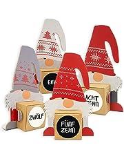 Itenga Calendario dell'Avvento fai-da-te formato da 24 personaggi a forma di gnomo e scatole da riempire + adesivi con numeri in tedesco