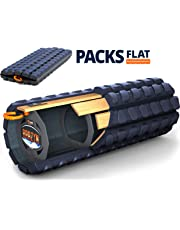 Brazyn Morph Alpha Foam Roller - Collapsible & Portable High Density Muscle Back Massager for Yoga Myofascial Release Massage (Midnight Blue)