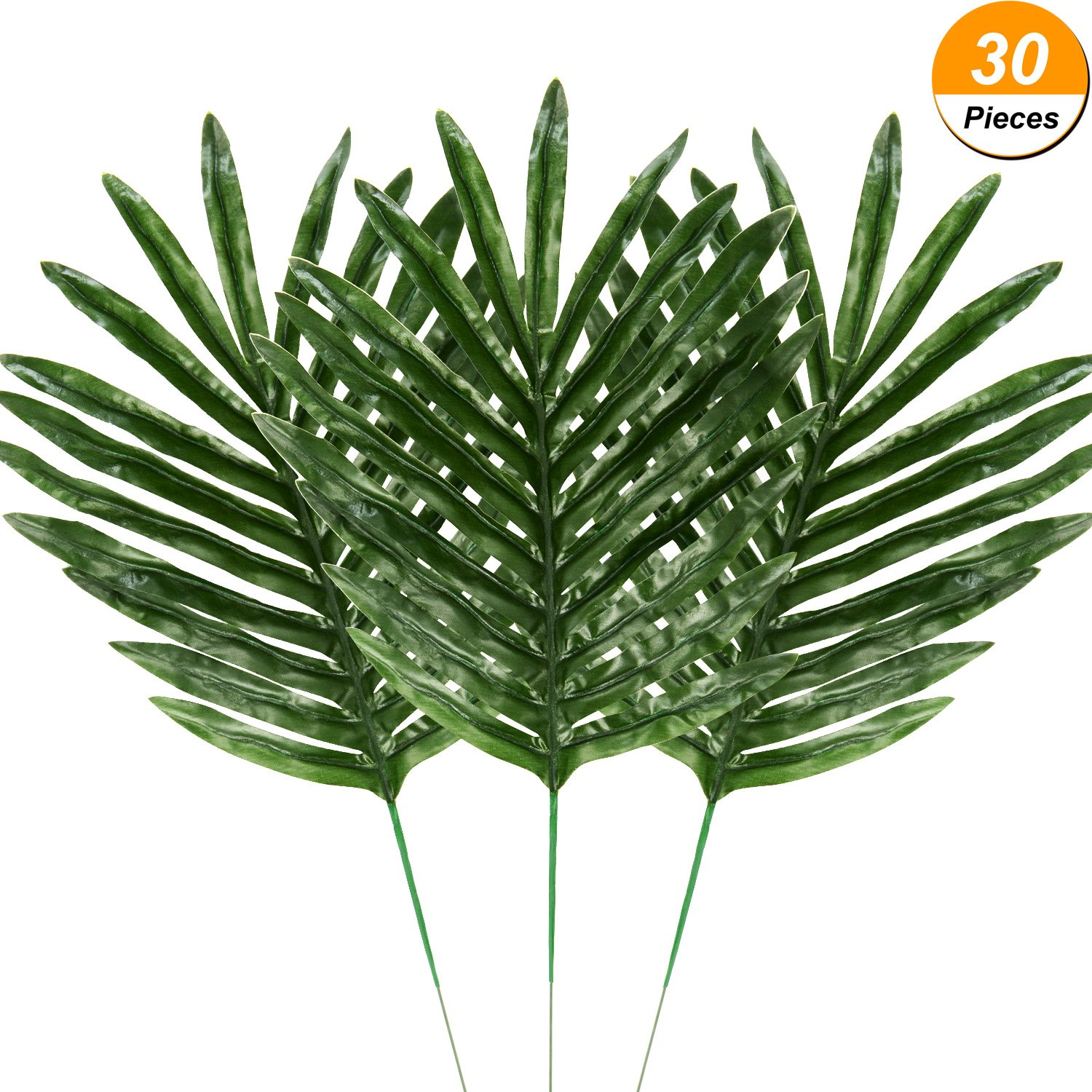 Hicarer 30 Pieces Palm Leaves Fake Tropical Leaf Artificial Leaves Decoration Fake Monstera Tropical Leaves