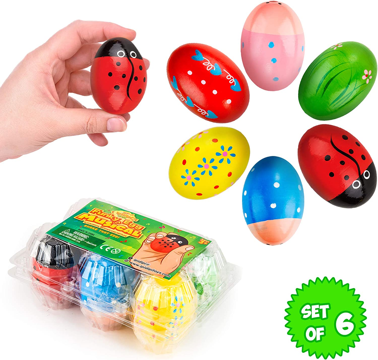 Funky Egg Shakers Maracas for Kids - 6 Pack - Natural, Wooden Musical Toy Percussion Instruments - Fun basket Stuffers - Colorful Sound Making Shakers - Assorted Easter Designs for Girls, Boys
