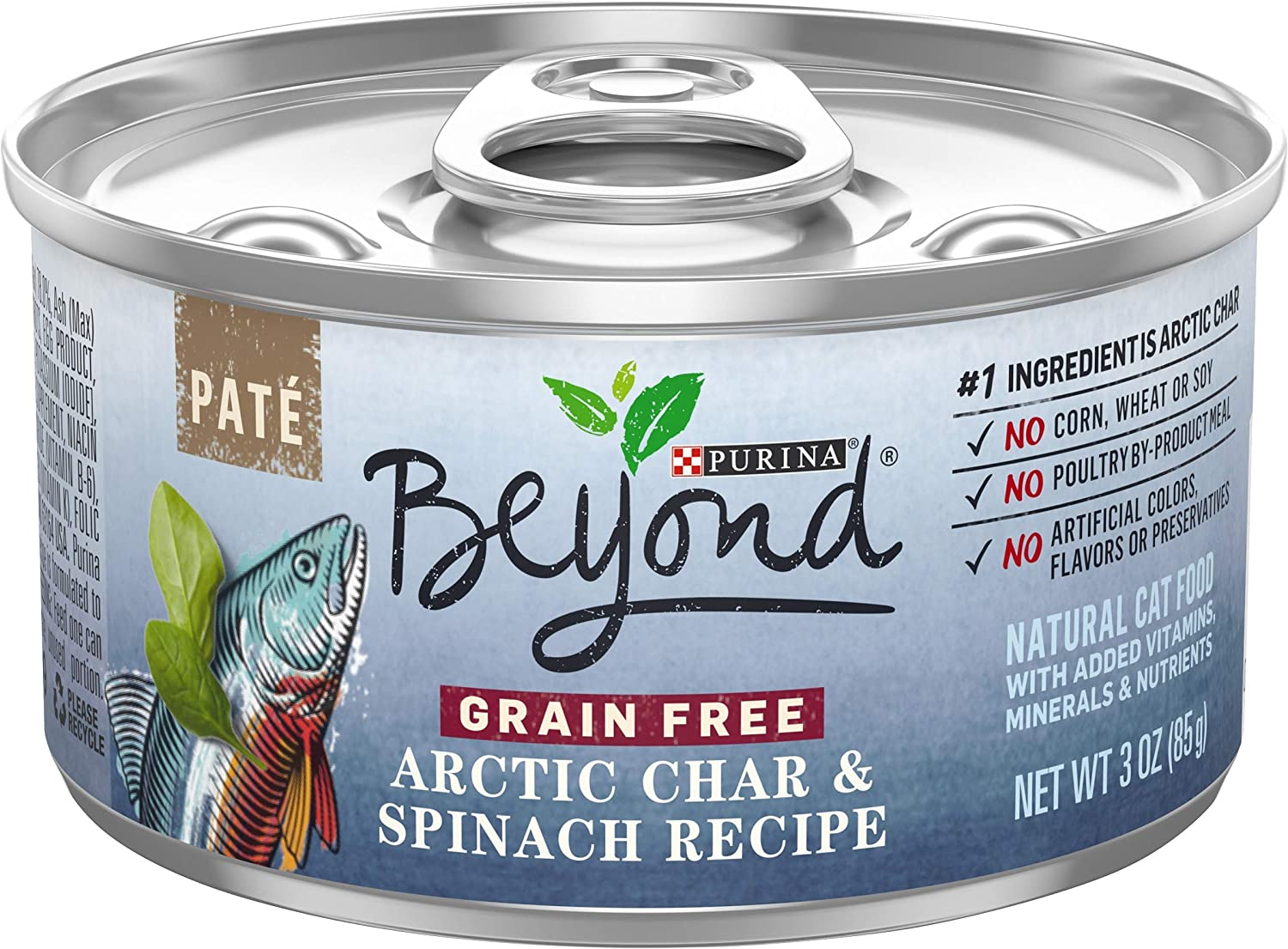 Purina Beyond Pate Grain Free Arctic Char & Spinach Recipe Adult Wet Cat Food - (12) 3 oz. Cans (Packaging May Vary)