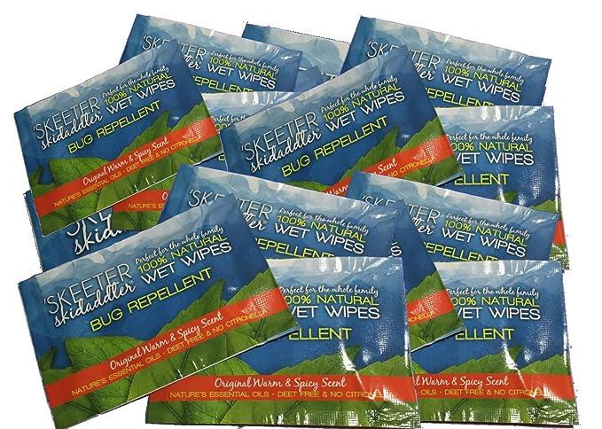 Skeeter skidaddler 100% natural repelente de insectos toallitas húmedas cálido & Spicy aroma, 6 pk: Amazon.es: Jardín