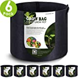 VIPARSPECTRA 6-Pack 5 Gallon Grow Bags Thickened Nonwoven Aeration Fabric Pots Container with Heavy Duty Durable Handles for Garden Indoor Plants