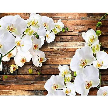 Fototapete Orchidee 3d Weiss Holz 396 X 280 Cm Vlies Wand Tapete