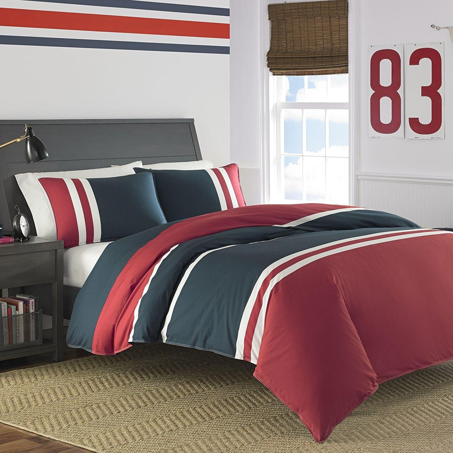 3pc Colorful Navy Blue Red Rugby Stripes Comforter Full Queen Set, Percale Cotton, White Striped Bedding Horizontal Colorblock Pattern Sports Themed Colors Nautical Coastal College Dorm