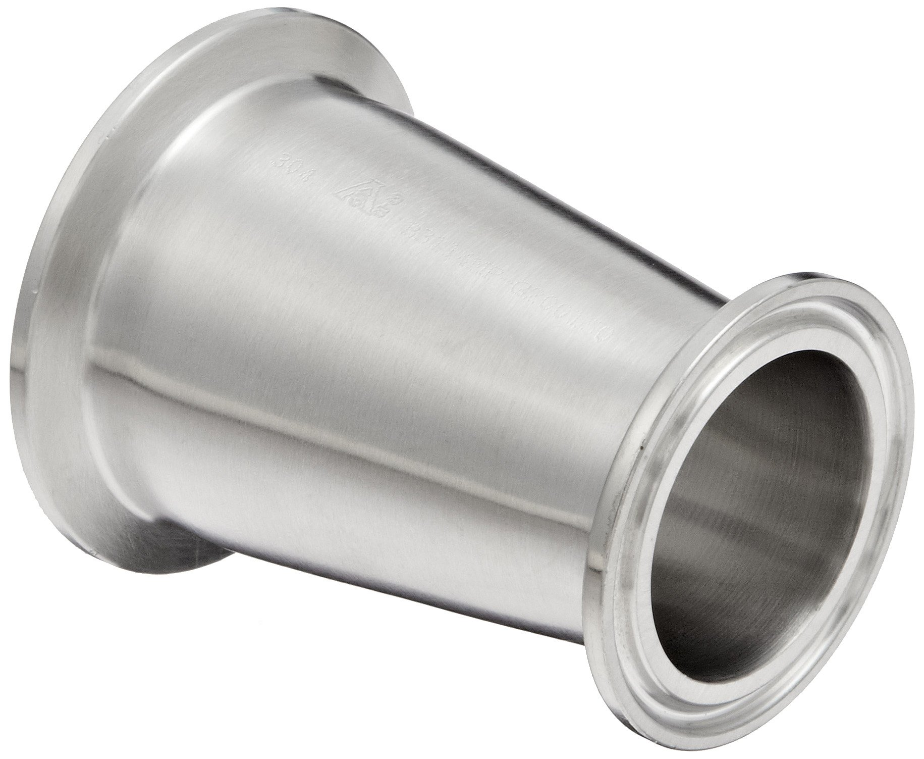 Dixon B3114MP-G200150 Stainless Steel 304 Sanitary Fitting, Clamp Concentric Red Fiberglassucer, 2'' Tube OD x 1-1/2'' Tube OD