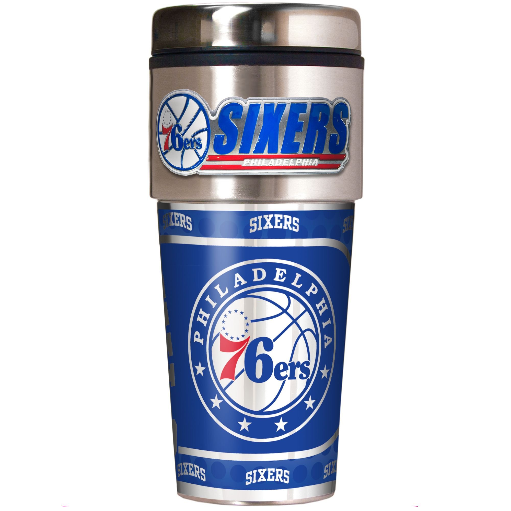 NBA Philadelphia 76ers Metallic Travel Tumbler,  16-Ounce by Great American Products