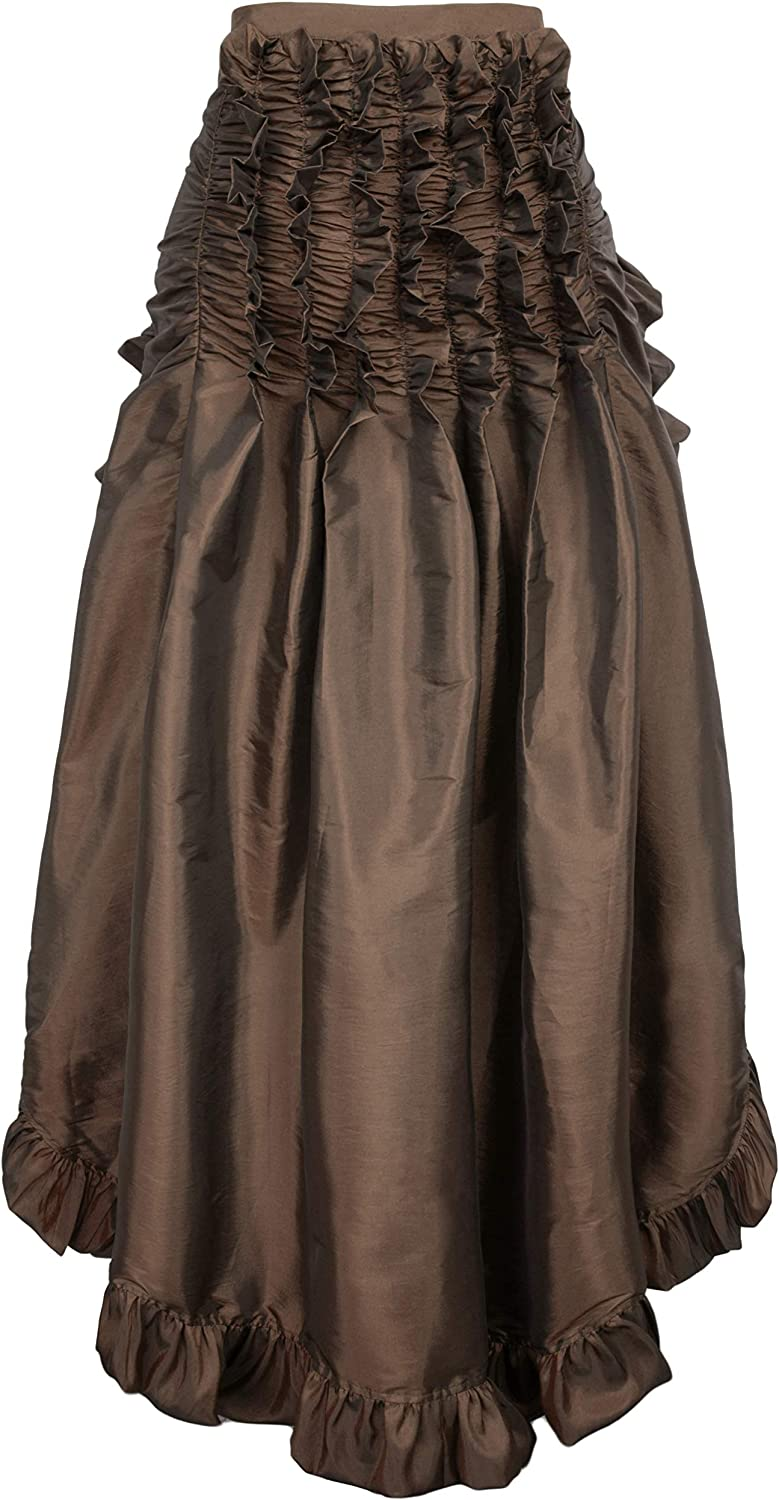 Ladies Gothic Steampunk Clothing Skirt Lace Up Retro Victorian Punk Cincher Vintage Long Ruffle Skirt