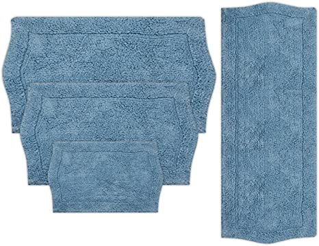 Amazon Com Home Weavers Waterford Collection Absorbent Cotton Soft Rug Machine Wash Dry 17 X24 21 X34 24 X40 22 X60 Blue Home Kitchen