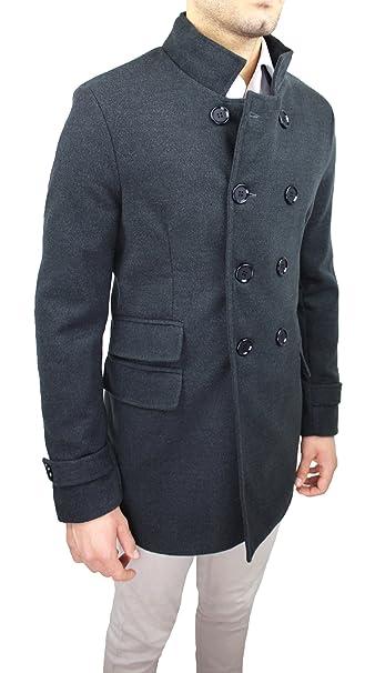 Cappotto Uomo Casual Invernale Grigio Scuro Doppiopetto Giacca Soprabito  Slim Fit Sartoriale Made in Italy  Amazon.it  Abbigliamento 271b2c0d62e