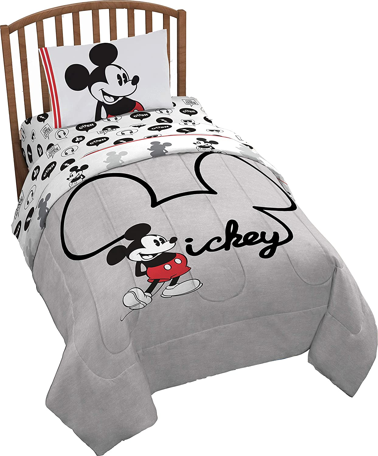 Jay Franco Disney Mickey Mouse Jersey 4 Piece Twin Bed Set - Includes Reversible Comforter & Sheet Set - Super Soft Fade Resistant Polyester (Official Product)