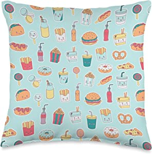 Junk Food Fast Food Pattern Burger Hotdog Fries Soda Taco Donut Junk Fast Food Pattern Throw Pillow, 16x16, Multicolor