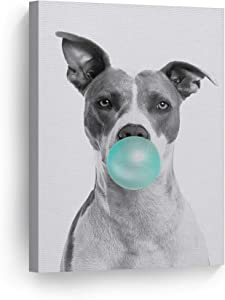 Smile Art Design Cute Pitbull Dog Animal Bubble Gum Art Teal Blue Canvas Print Black and White Wall Art Home Decoration Pop Art Living Room Kids Room Decor Nursery Ready to Hang Made in The USA 12x8