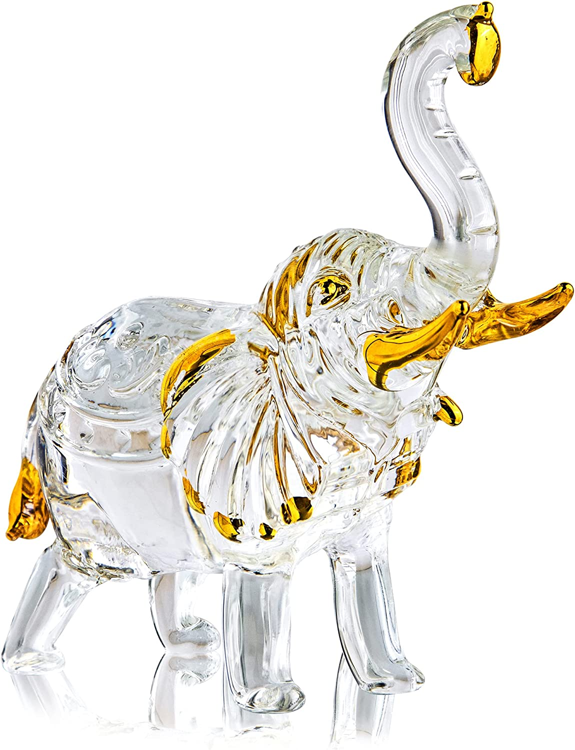 H&D HYALINE & DORA Handmade Crystal Thai Elephant Statue with Trunk Raised Figurine Home Decor Table Centerpiece Sparkling Glass Art Animals Collectible Gift