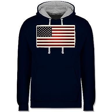 Shirtracer Kontinente - Flagge USA - XS - Dunkelblau/Grau meliert - JH003 -  Kontrast