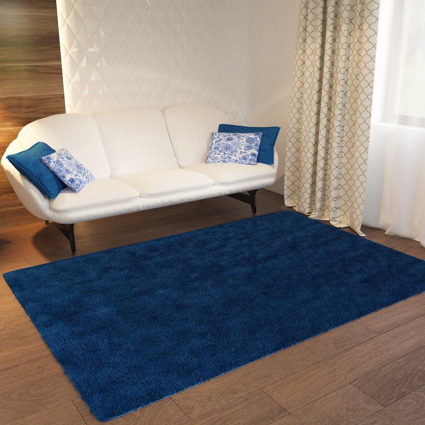 Home Way Dark Blue Plain Solid Shag Area Rug Solid Color 3'3'' x 5'3'' Plain Modern Area Rug Living Kids Room Bedroom Playroom Baby Room Bathroom Rug Easy Clean Soft Plush Quality Carpet