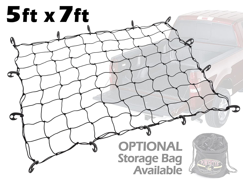 Orange Net 5ft x 7ft PowerTye Mfg Truck /& Trailer Large Elastic Cargo Net with 14 Adjustable Hooks