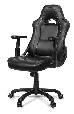 Arozzi Mugello Series Enhanced Gaming Racing Style Swivel Chair, Black