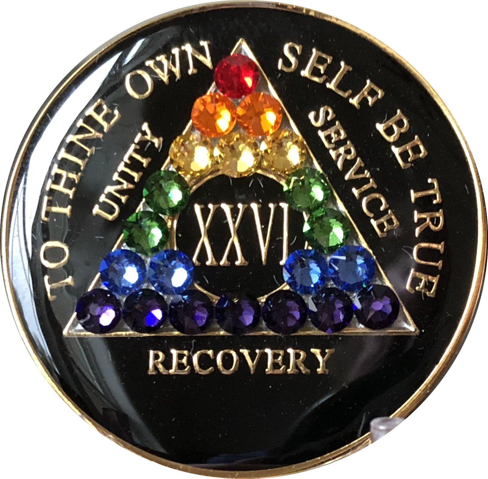 26 Year Black Rainbow Swarovski Crystal Tri-Plate AA Medallion Chip XXVI