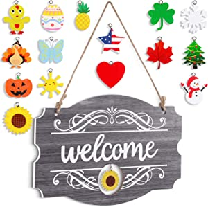 Interchangeable Seasonal Welcome Sign Front Door Decor Rustic Wood Welcome Sign Wall Hanging Porch Decoration for Fall Christmas Easter Valentines Thanksgiving, 14 x 9 Inch (Gray with White Letters)