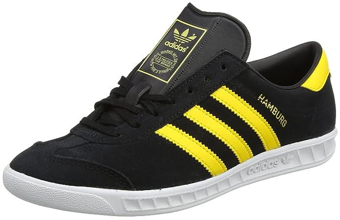 Adidas Hamburg Sneaker Herren Schwarz mit gelben Streifen