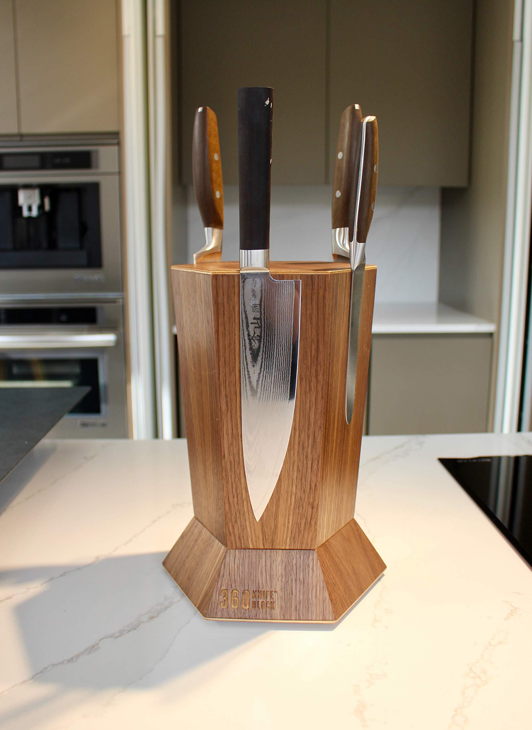 360 Knife Block - (Walnut) ROTATING - Magnetic - BEST Universal Knife Block by 360 Knife Block (Image #7)
