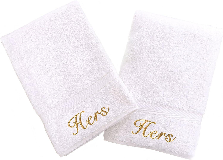Fluer Split Outline 2 Bathtowels  Personalized His Hers Towel Set  Any Color