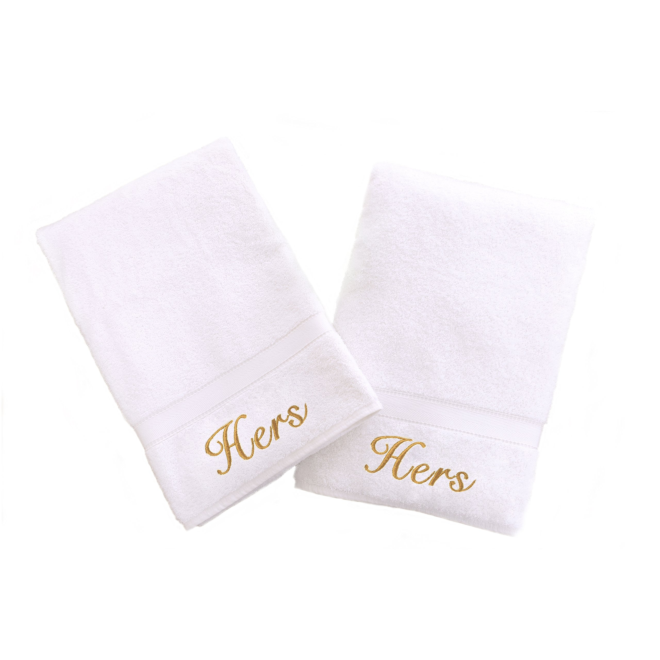 Linum Home Textiles Personalized Hers and Hers Hand Towel, Set of 2