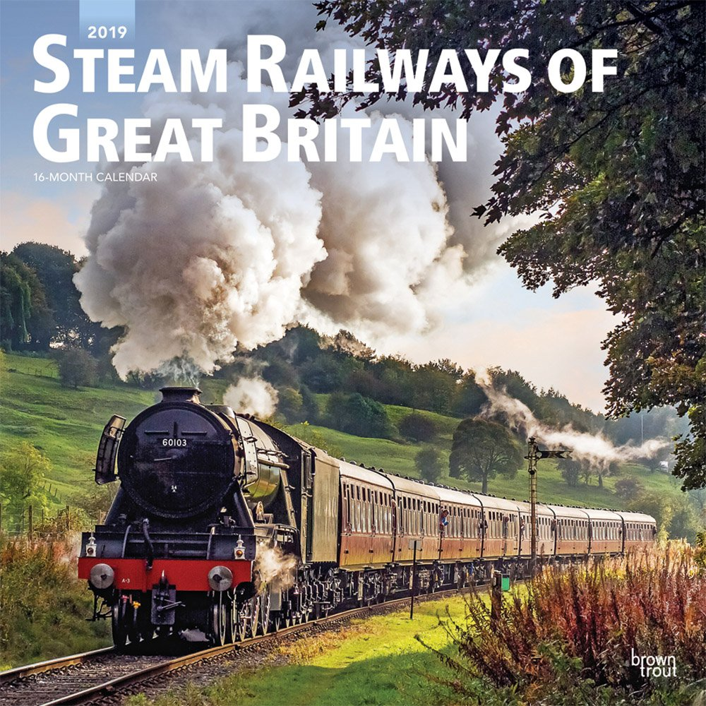 Steam Railways of Great Britain 2019 12 x 12 Inch Monthly Square Wall Calendar, United Kingdom Transportation by BrownTrout Publishers