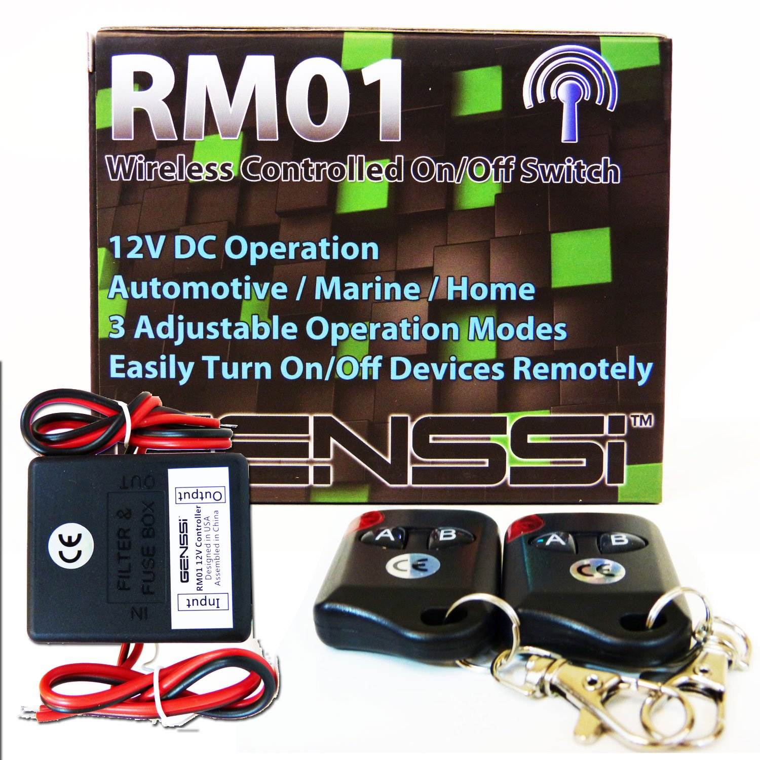 Genssi 12v Wireless On Off Transmitter Controller 2 Dc Fuse Box Home Remotes 1 Channel Remote Automotive