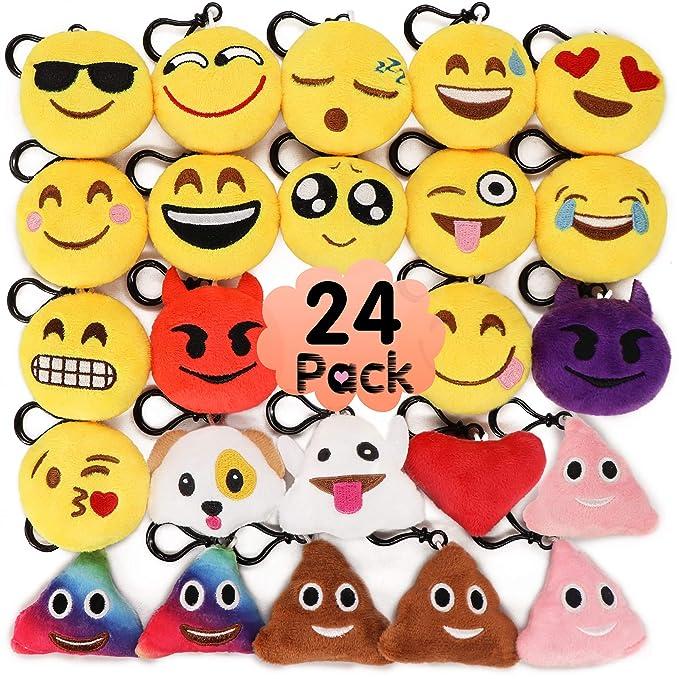 Amazon.com: MelonBoat - Pack de 24 llaveros de felpa Emoji ...