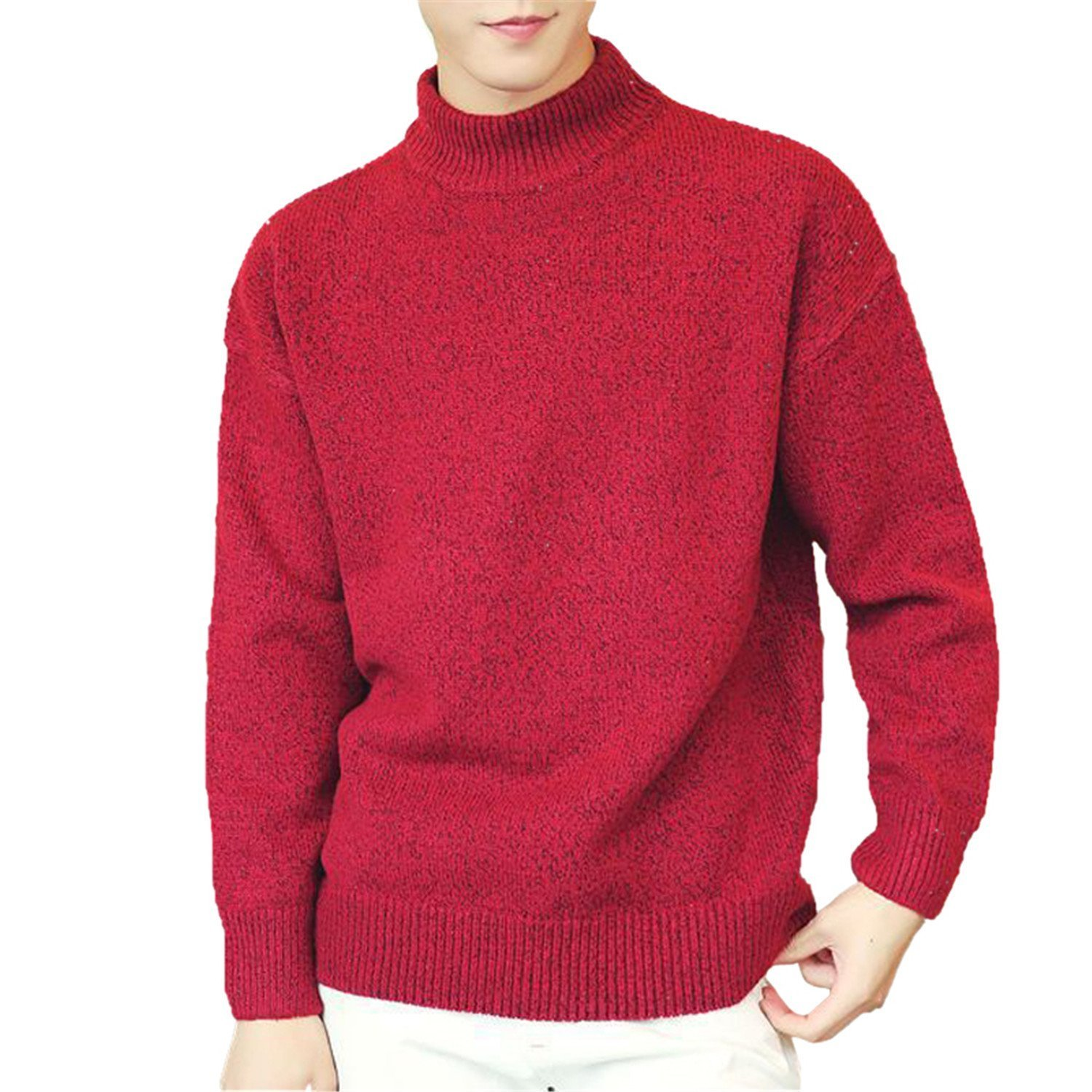 Toping Fine Solid Sweater Men Half-Turtleneck Collar Long Sleeve Pullover Sweaters Knitted Sweaters M-XXXL RedX-Large